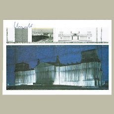 Christo signed Wrapped Reichstag Project Artist Postcard CoA