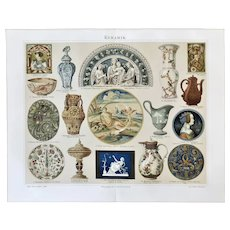 Ceramics Two Chromolithographs from 19th Century