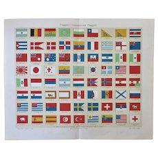 International Flags Chromo Lithograph 1898