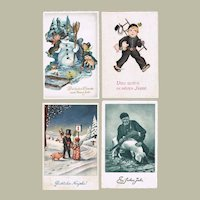4 Vintage New Years Postcard from Collection Spehr