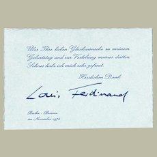 Prince Louis Ferdinand Autograph. Signed Card, CoA
