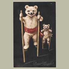 Funny Postcard with Two Teddy Bears on Stilts