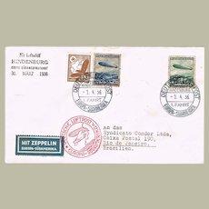 Zeppelin Mail 1936 Hindenburg Brazil Flight