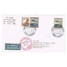 Zeppelin Mail 1936 Hindenburg Brazil Flight