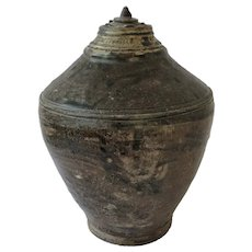 Antique Khmer Jar with Lid. 13. Century