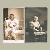 Two Cute Old Photos of Children with Teddy Bears