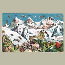 Swiss Alps Funny Vintage Postcard with Zeppelins and Balloons from 1922