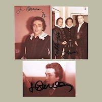 Jose Carreras Autograph Lot of 3 on Private Photo 1977 CoA
