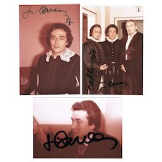 Jose Carreras Autograph Lot of 3 on Private Photo 1977 CoA