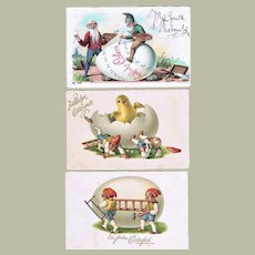 Lot of Three Funny Postcards with Gnomes Chromo Lithographs