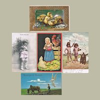 Lot of Five Vintage Postcards with Easter Motifs