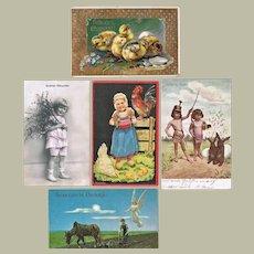 Lot of Five Vintage Postcards with Easter Motifs