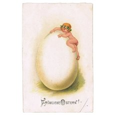 Cute Old Easter Postcard with little Girl climbing up a Huge Easter Egg