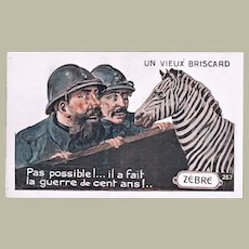 Funny French Postcard with Zebra and Two Soldiers