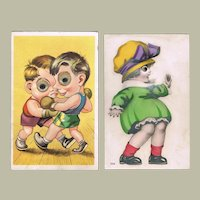 Two Funny vintage Postcard with Moveable Eyes