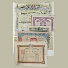 Lot of Five Old Chinese Stocks and Bonds