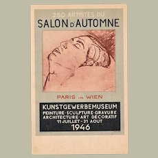 Advertising Postcard French Art Exhibition in Wien in 1946