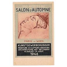 Advertising Postcard French Art Exhibition in Wien in 1946