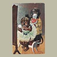 Cute Dachshund Postcard Couple by Thiele