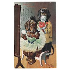 Cute Dachshund Postcard Couple by Thiele