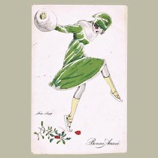 Art Deco New Year Postcard Lady Skating