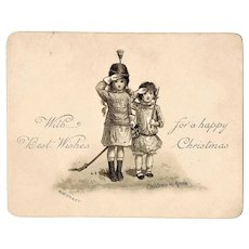 Very early Xmas postcard with Children in Arms Lithographed