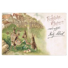 Happy Easter Embossed Lithographed Vintage Postcard 1903
