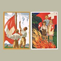 Two Scarce Swiss Air Mail Art Postcards 1930