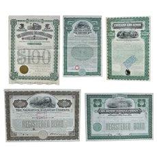 Lot of Five US Railroad Bonds 1897 – 1931