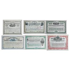 Lot of Six US Railroad Stock Certificates 1878 – 1955