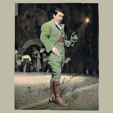 Giuseppe diStefano Autograph on Tinted Scala Milano Photo. CoA.