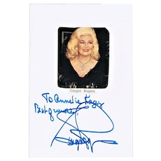 Ginger Rogers Authentic Autograph on Photo with CoA