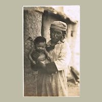 Chinese vintage Photo Mother with Baby Inner Mongolia