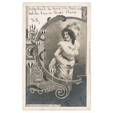 Art Nouveau Postcard with Photo by Eddowes Bros. 1900