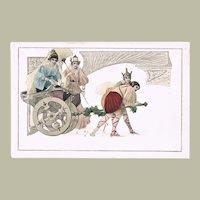 Decorative Art Nouveau Postcard Classic Scene