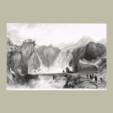 Antique Etching with China Topic The Cataract of Shih-Tan