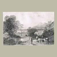 Bamboo Aqueduct at Hong Kong. Antique Etching