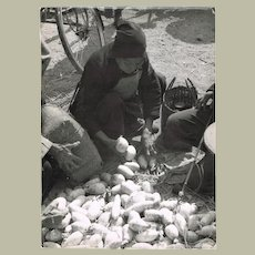 Old Chinese Photo with Peasant selling Potatoes on a Market