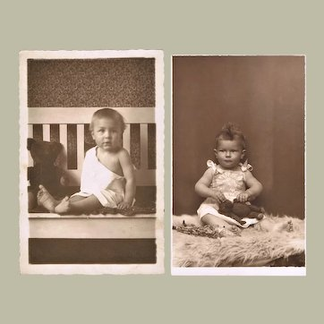 Two Old Photographs of Babies with Teddy Bears