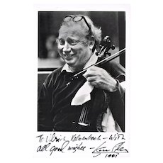 Isaac Stern Autograph on Photo signed 1981 CoA