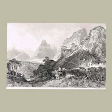 Old China Etching Foot of Too-hing after Thomas Allom