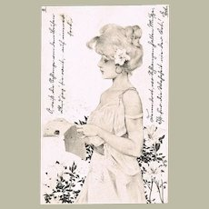 Raphael Kirchner Postcard with Pretty Girl and Flowers 1901