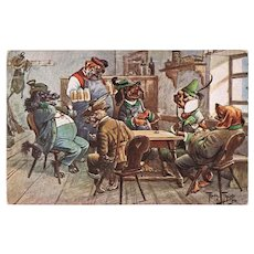Funny Vintage Postcard with Dogs in Pub by Arthur Thiele