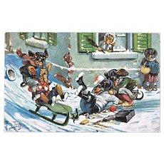 Funny postcard with Dachshund Sledding by Thiele