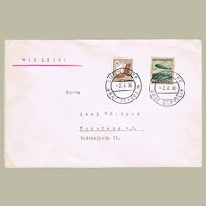 Attractive Zeppelin Cover Mixed Franking 1936 LZ129