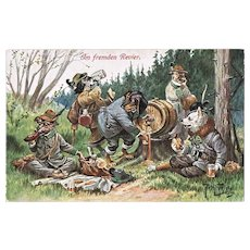 Funny Vintage Postcard with Dachshund and Companions by Arthur Thiele