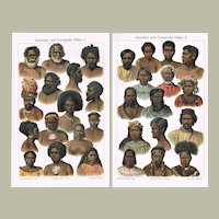Minorities from Australia and Oceania Chromo Lithographs 1900
