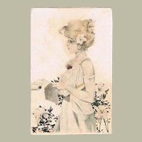 Raphael Kirchner Postcard with Young Girl and Letter from 1905