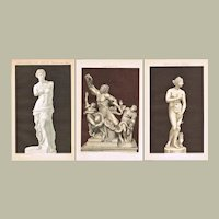 3 Lithographs with Famous Antique Statues 1896