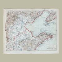 Old Chinese Map Tschi-Li and Shan-Tong Region 1900